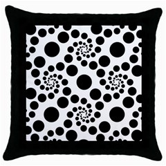 Dot Dots Round Black And White Throw Pillow Case (black)