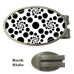 Dot Dots Round Black And White Money Clips (oval)