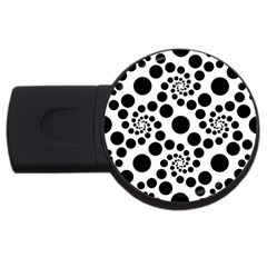 Dot Dots Round Black And White Usb Flash Drive Round (2 Gb)