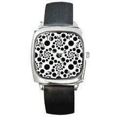 Dot Dots Round Black And White Square Metal Watch