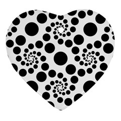 Dot Dots Round Black And White Heart Ornament (two Sides)