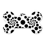 Dot Dots Round Black And White Dog Tag Bone (Two Sides) Back