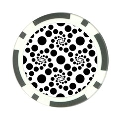 Dot Dots Round Black And White Poker Chip Card Guard
