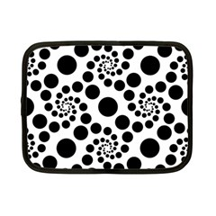 Dot Dots Round Black And White Netbook Case (small)