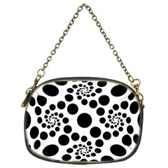 Dot Dots Round Black And White Chain Purses (two Sides)