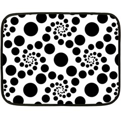 Dot Dots Round Black And White Double Sided Fleece Blanket (mini)