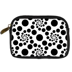 Dot Dots Round Black And White Digital Camera Cases
