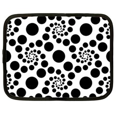 Dot Dots Round Black And White Netbook Case (XXL)