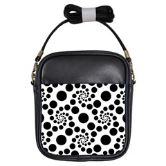 Dot Dots Round Black And White Girls Sling Bags