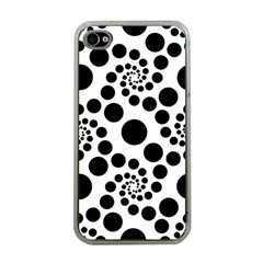 Dot Dots Round Black And White Apple Iphone 4 Case (clear)