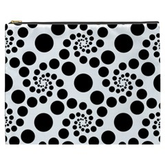 Dot Dots Round Black And White Cosmetic Bag (xxxl)