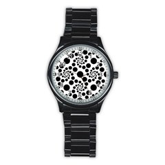 Dot Dots Round Black And White Stainless Steel Round Watch