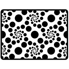 Dot Dots Round Black And White Double Sided Fleece Blanket (large)