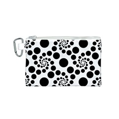 Dot Dots Round Black And White Canvas Cosmetic Bag (S)