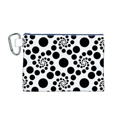 Dot Dots Round Black And White Canvas Cosmetic Bag (M)