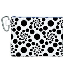 Dot Dots Round Black And White Canvas Cosmetic Bag (xl)