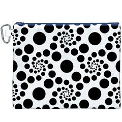 Dot Dots Round Black And White Canvas Cosmetic Bag (XXXL)