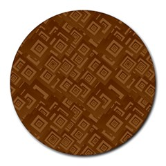 Brown Pattern Rectangle Wallpaper Round Mousepads