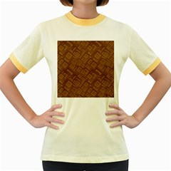 Brown Pattern Rectangle Wallpaper Women s Fitted Ringer T Shirts
