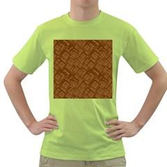 Brown Pattern Rectangle Wallpaper Green T Shirt