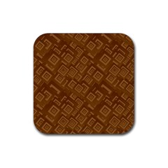Brown Pattern Rectangle Wallpaper Rubber Square Coaster (4 Pack)