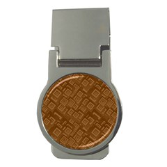 Brown Pattern Rectangle Wallpaper Money Clips (round)