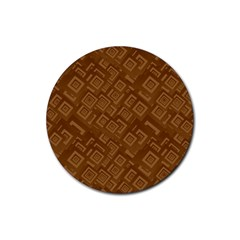 Brown Pattern Rectangle Wallpaper Rubber Coaster (round)