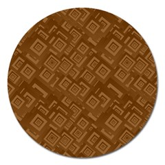 Brown Pattern Rectangle Wallpaper Magnet 5  (round)