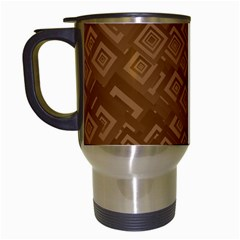 Brown Pattern Rectangle Wallpaper Travel Mugs (white)