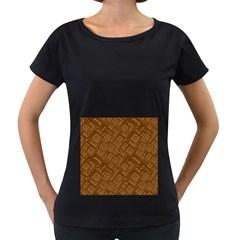 Brown Pattern Rectangle Wallpaper Women s Loose Fit T Shirt (black)