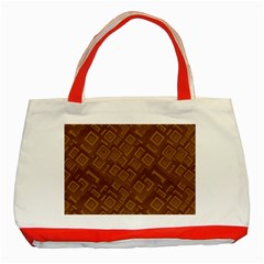 Brown Pattern Rectangle Wallpaper Classic Tote Bag (red)