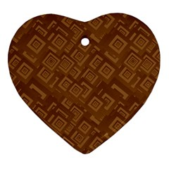 Brown Pattern Rectangle Wallpaper Heart Ornament (two Sides)