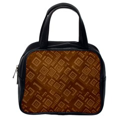 Brown Pattern Rectangle Wallpaper Classic Handbags (One Side)