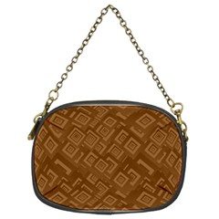 Brown Pattern Rectangle Wallpaper Chain Purses (Two Sides)