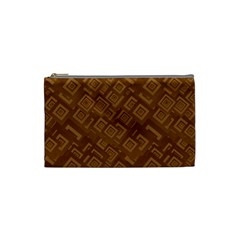 Brown Pattern Rectangle Wallpaper Cosmetic Bag (Small)