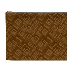 Brown Pattern Rectangle Wallpaper Cosmetic Bag (XL)