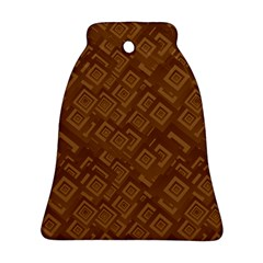 Brown Pattern Rectangle Wallpaper Bell Ornament (two Sides)
