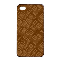 Brown Pattern Rectangle Wallpaper Apple Iphone 4/4s Seamless Case (black)