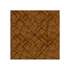 Brown Pattern Rectangle Wallpaper Acrylic Tangram Puzzle (4  X 4 )
