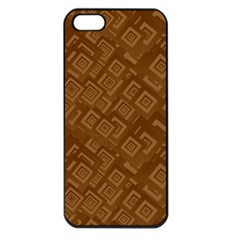 Brown Pattern Rectangle Wallpaper Apple Iphone 5 Seamless Case (black)