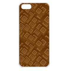 Brown Pattern Rectangle Wallpaper Apple Iphone 5 Seamless Case (white)