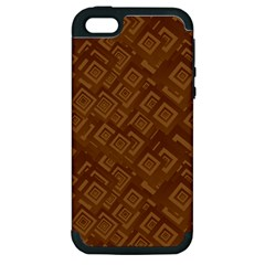 Brown Pattern Rectangle Wallpaper Apple Iphone 5 Hardshell Case (pc+silicone)