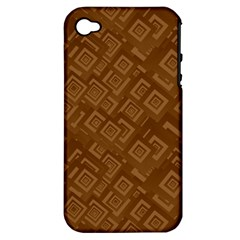 Brown Pattern Rectangle Wallpaper Apple iPhone 4/4S Hardshell Case (PC+Silicone)