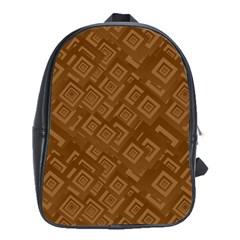 Brown Pattern Rectangle Wallpaper School Bags (xl)