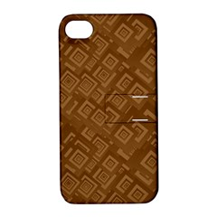 Brown Pattern Rectangle Wallpaper Apple Iphone 4/4s Hardshell Case With Stand