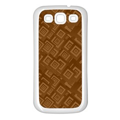 Brown Pattern Rectangle Wallpaper Samsung Galaxy S3 Back Case (white)