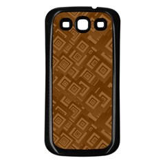 Brown Pattern Rectangle Wallpaper Samsung Galaxy S3 Back Case (black)