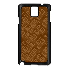 Brown Pattern Rectangle Wallpaper Samsung Galaxy Note 3 N9005 Case (Black)