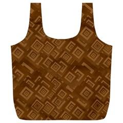 Brown Pattern Rectangle Wallpaper Full Print Recycle Bags (l)