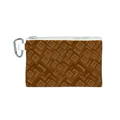 Brown Pattern Rectangle Wallpaper Canvas Cosmetic Bag (S)
